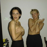Topless Wife And Friend - Topless, Hot Wife, Topless Wife , Hands Cover Boobs, Two At A Time, Cover Tits, Hand Bra, Two Topless Women, Standing, Two Topless Models, Black Skirts, Hands On Breasts, Acting Surprised