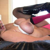 Tit Bondage - Spread Legs, Nude Amateur , Nude Friend, Laying Back With Legs Spread, Fit To Be Tied, Breast Bondage, Cowgirl Tits, Holding Onto Boot Heel, New Style Wounder Bra, Bondage, Tied Up, Shiny Black Boots, Black Patent Boots And Gloves
