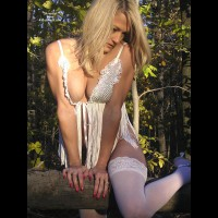 Sqeezed Together - Blonde Hair, Stockings , Sqeezed Together, Blonde Hair, White Stockings, Red Nails, Dressed For The Woods, Playing With The Wood, Sexy Itn The Forest