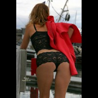 Sexy Lingerie - Sexy Lingerie , Black Lace Shorts, Boy Shorts, Red Coat On Shoulder, Black Lace Boy Shorts, Teaser, Bra And Panties, Nice Ass In Black Hot Pants, Black Lace Camisole, Red Jacket, Black Lace Panties Outside, Black Lingerie