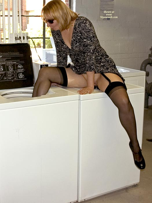Laundry Day - Milf, Stockings , Laundry Day, Acting Silly, Black Stockings, Laundry Room, Riding The Whirlpool, Milf