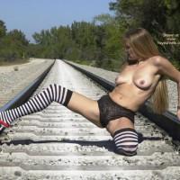 Stop A Train - Sexy Panties , Stop A Train, Black White Stripe Stockings, Black Panties, Tanline Titties