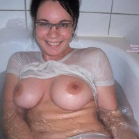 Bathtub - Brunette Hair, Glasses, Huge Tits , Bathtub, Large Boobs, Brunette, In Bath, Looking Straight At Camera, Wet T Shirt, Glasses, Big Boobs