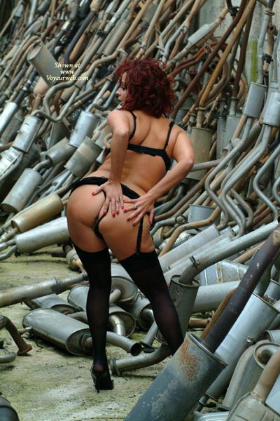 Bend Over - Bend Over, Bra, G String, Heels , Bend Over, Hands On Ass, Black High Heels, Black Bra, Black G-string, Naked In Junkyard, Ass In Public, The Pipe Shop, Posing In Junkyard
