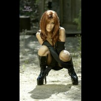 Woman In High Heel Black Boots , Woman In High Heel Black Boots, Sexy Red Head, Long Gloves, Pvc Boots