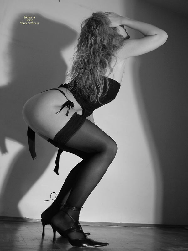 Black And White - Bend Over, Black And White, Round Ass, Stockings , Black And White, Black Stockings, Bending Over, Round Ass, Long Curly Hair
