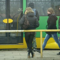 Skirt Less Lady , I Saw The Girl On The Train Station In A Big City. Just Today, 19th Of March 2011. It Was +2 Celsius Deg. Brave Girl.
