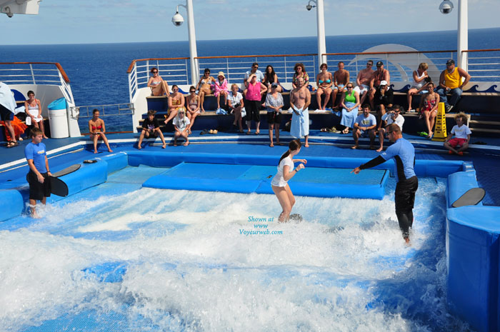 On A Cruise From Miami , This Girl From North Carolina On A Flowrider On A Cruise From Miami 03-05-11. She Started Out O.k. And Then The Girls Came Out To Play.