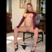 Flashing In Living Room - Chair, Heels, Large Breasts, Shaved Pussy, Sexy Panties , Flashing In Living Room, Chair, Large Breasts, Black Panties, Shaved Pussy, Large Breasts, Sitting Nude, Thong Pulled Down, Shirt Pulled Up, Black Heels
