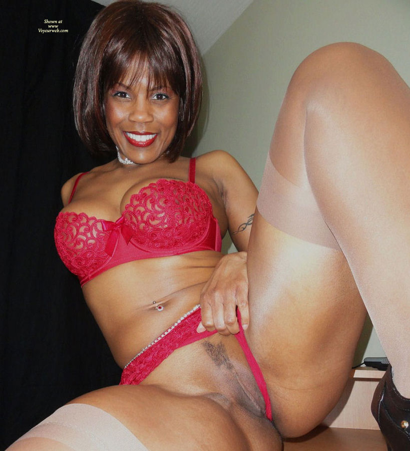 Black Beauty Exposing Love Box - Landing Strip , Chocolate Pussy, Red Lingerie, White Stockings, Pulling Aside Her Pussy Hammock, Shaven Twolly, Wife Photos, Red Lingerie, Happy Snatch Flash, Crotch Flash