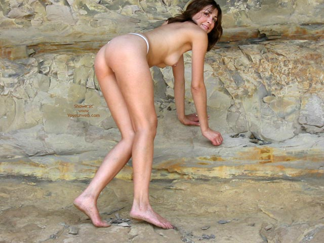Skinny And Naked On Beach - Naked On Beach , Skinny And Naked On Beach, Topless Rock Climbing, Bare Feet On Rocks, Slim Figure