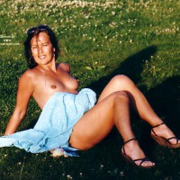 Outdoors - Erect Nipples, Nude Outdoors , Outdoors, Topless On A Grassy Field, Nude On Grass, Erect Nipples