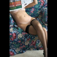 Nude Reading Newspaper - Shaved Pussy, Stockings , Nude Reading Newspaper, Black Stockings, Legs Crossed In Black Stockings, Thigh High Tights, Shaved Pussy, Naked Reading Paper