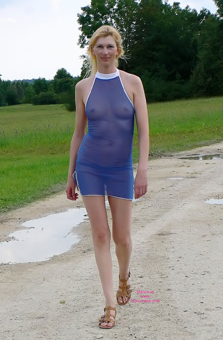 Blond In A Seethrough Dress - Blonde Hair, See Through, Hot Wife , Tiny Tit Blond, See My Tits Throught Blue Dress, Sheer Blue Body Over Panties, No Bra, Tan Bikini, Tall Blonde, See Thru, Me Seethrough, Blue Mesh Dress, Sexy Outfit, Brown Sandals, Slender Blond In See Through