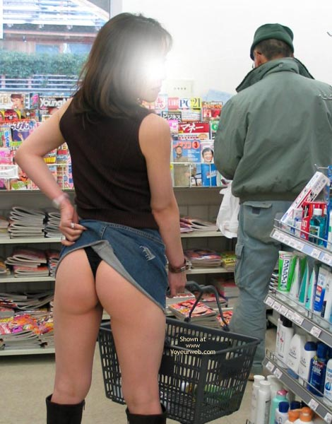 Miniskirt And Boots - Exposed In Public , Miniskirt And Boots, Public Exposure, Blang Thong In The Shop, Skirt Lifting, Denim Miniskirt Black Sleveless, Black Kneehigh Boots, Black Thong