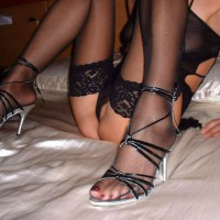 Sitting On The Bed With Her Sheer Body Suit,stockings And Heels - Heels, Shaved Pussy, Spread Legs, Stockings , Black Stocking, Sheer Lace Stockings, Silver And Black High Heels, Thigh High Stockings, Kitty Floss, Peeking Shaved Pussy, Lace Stockings, Close Up, Strappy Heels, Black Panties, Thin Tight Body, Black Lace Stockings, Sitting On A Bed