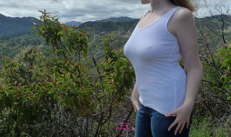 Out For A Hike , April And I Just Went For A Hike And Picnic. Somehow Clothes Started Falling Off And Pictures Were Taken. ;-) What Happened Once We Got Back Will Be On Redclouds.  If You Leave Your Email And A Nice Comment, We'll Send You Some Thank You Pics. :-) We Love Tribute Pics And Pics From Other Couples/women!  It's Been Months, But Things Have Finally Settled And We're Happy To Be Back.  Enjoy!  Winston   1. Nice Comments Only Please. 2. They Are Natural, But Lifted. 3. Yes, 34DDD. Cup Size (DDD) Is Proportional To Band Size (34). So A 34DDD Is About Four Cups Sizes Smaller Than A 42DDD. :-)
