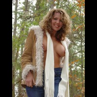 Topless Outdoor With Scarf - Blonde Hair, Nude Outdoors , Topless Outdoor With Scarf, Titts And Scarfs, Leaves And Boobs, Nude In The Wood, Desirable, Autumn Outdoors, Topless Season, Out Doors, Jeans And Open Coat, Topless In Jeans, Blonde Hair