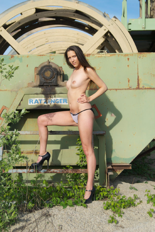 Topless Slim Chick High Heels Standing Old Machinery - Black Hair, Heels, Long Legs, Small Tits, Topless , Black Platform Heels, Long Legs In Heels, High Heels Outdoors, Small Titties, Topless Amateur, Topless Outdoor, Mis Ratzinger 2010