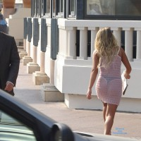 See Through Dress And Thong In Public , Summertime Dress, Voyeur, Thong In Public, Showing Her Ass Off, See Through Skirt, Nicely Framed Behind, Sexy Dress, Candid Thong On Street, Black Panty Visible Through See Through Dress