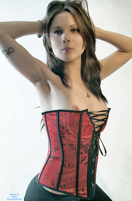 """Hour Glass Figure - Brown Hair, Brunette Hair, Long Hair, Small Breasts, Sexy Face , Gorgeous Body, Slender Body, Sexy Brunette, Pretty Face, Red Corset, Sexy Girl, Skinny Brunette, Sexy """"fuck Me"""" Corset, Gorgeous Face"""