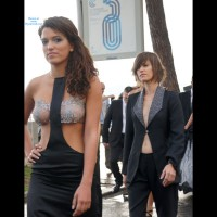 "See Through Top Cannes Film Festival - Brunette Hair, See Through, Topless, Sexy Girl , Prom Night With Attitude, ""topless"" Dress With See-thru Bra, See Through In Public, See Through Dress, Brunette Exposing Tits In Public, Event Voyeur"