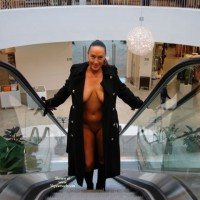 Public Nude - Brunette Hair, Cleavage, Exposed In Public , Public Nude, Nude On Escalator, Flash In Public, Cleavage, Exposed In Public, Brunette, Black Trench Coat, Mall