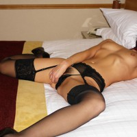 Girl On Bed - Heels, Small Tits, Spread Legs, Stockings , Girl On Bed, Black Stockings, Nude Masturbating, Spread Legs, Black High Heels, Small Tits, Lying On Her Back