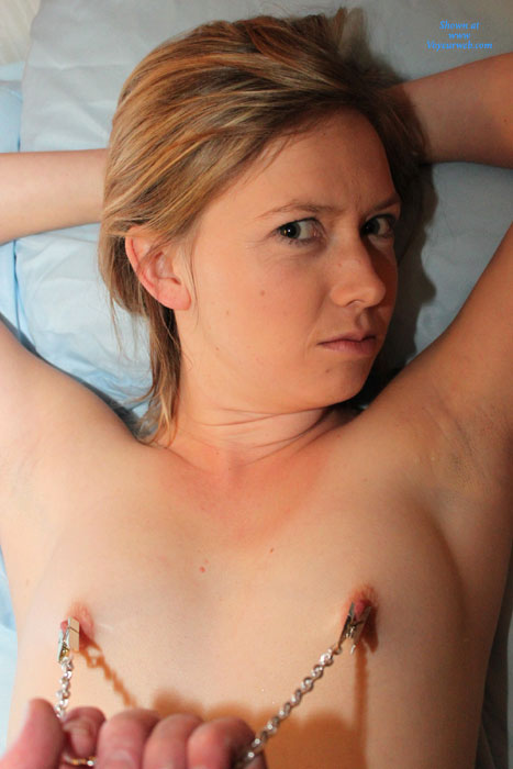 Pulling Her Nipples With Nipple Chain - Erect Nipples, Nude Amateur , Chained Nipples, Clamped Nipples, Nipple Pull, Tiny Tits