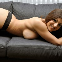 Topless Friend With Hangers On Couch - Big Tits, Brown Hair, Huge Tits, Long Hair, Topless, Sexy Face , Panties, Pretty Face, Round Ass, Big Smile, Ass Up On The Couch, Tits & A Smile, Black Panties, Big Breast