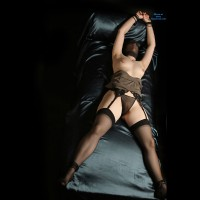 Wife Bondage Hands Tied Legs Spread Nylon Over Face - Spread Legs, Stockings , Sheer Panty, Black Thong Displays Smooth Cunt, Stockings Over Her Head, High Heel Sandal, Black Lace Garter Belt, Bound For Pleasure, Bondage, Tied Up, Black Thigh High Stockings, See Through Crotch