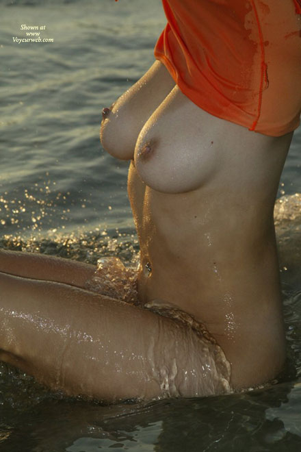 Torso In The Water - Water, Wet , Torso In The Water, Wet Nipples, Wet Skin, Huge Breast, Water Splashing Over Crotch, Big Tits On Beach