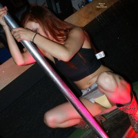 Pole Rubber - Navel Piercing, Small Tits , White And Yellow Panties, Super Short Denim Miniskirt, Full Crotch, Yellow Twolly Hammock, Club Upskirt, Yellow Panties, Snatch Sling Covering Her Twat