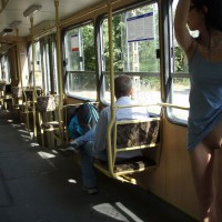 Lifting Her Blue Dress To Show Pussy In Public - Flashing, Hairless Pussy , Pantyless, No Panties, Pantieless Amateur, Blue Dress, Flashing Pussy In Bus, Train Pussy Flash, Flasher Girl, Bottomless In Public, Trolly Twat