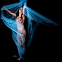 Nude Dancing - Black Hair, Erect Nipples, Naked Girl , Long Erected Nipples, Dark Nipple, Blue Mystic, Artsy, Big Brests, Dancing In Blue, Blue Dancer