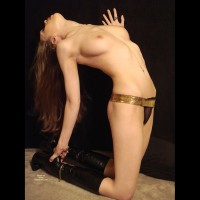 Slender Sexy Piece Of Woman - Erect Nipples, Long Legs, Natural Tits, Perfect Tits, Nude Amateur, Sexy Figure , Black Lace Thong, Golden Panty, On Her Knees, Arched Back, Gold Belt, Sexy Snatch Pouch, Black Leather Knee-high Boots, Gold Jewelry, Black Boots