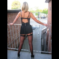 Amateur Dressed Sexy - Heels, Milf, Stockings , Alley Cat, Black Short Skirt, Stockings, Standing By The Fence, Black Thigh Highs, Milf Cougar, Thigh Highs, Posed For Upskirt.., Micro Skirt