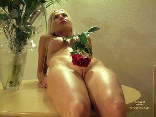 Naked Blonde On The Table , Naked Blonde On The Table, Naked Blonde With Red Rose, Nude With Rose