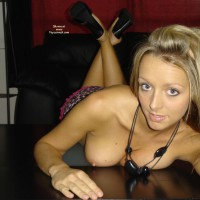 Table Pose - Erect Nipples, Fun , Table Pose, Blondes Have More Fun, Nude On Table, Tits And Face, Blond Tits, Blond Black Heels Erect Nipples