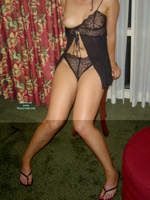 See Through - See Through, Sexy Feet, Sexy Lingerie , See Through, Black Underwear, Black Lingerie, One Tit Out, Feet, Flip Flops