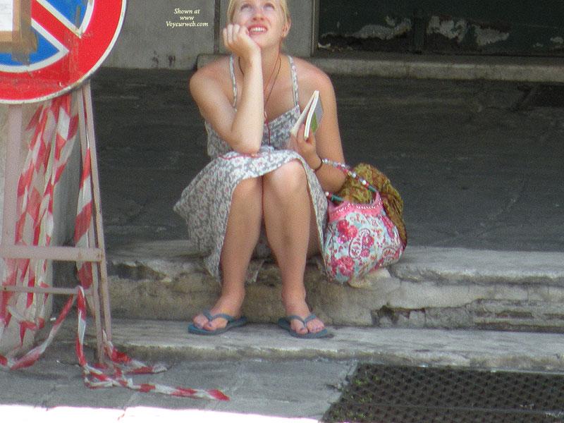 Sitting Upskirt White Panties , Panties, Upskirt, Short Dress, Flowery Sundress, Upskirt Voyeur