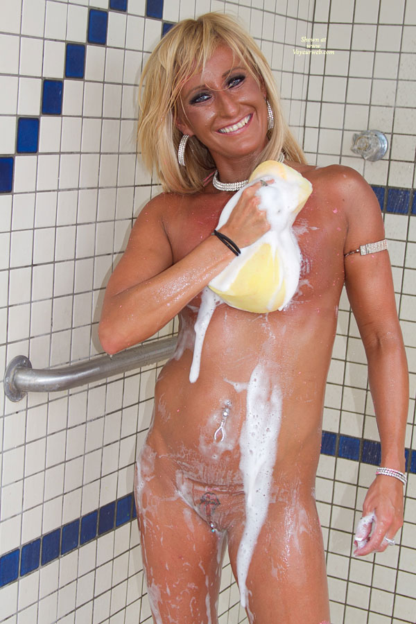 "Naked Tanned Girl In Shower At Nap 2011 , She Took Her Contestant Number Off, So I Dont Know What Contestant Number She Is, But I Will Refer To Her As ""Naked Tanned Girl"". Nudes A Poppin 2011."