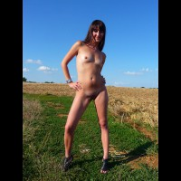 Farmer's Daughter Nude In The Field - Brunette Hair, Small Tits, Bald Pussy, Naked Girl , Mowed Field, Slender Body, Natural Brunette Posing Outdoors, Nude Girlfriend On Heels, Full Frontal In Nature, Sexy Lean Torso
