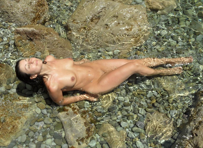Cute Nude Lady In Shallow Water - Black Hair, Brunette Hair, Dark Hair, Long Hair, Bald Pussy, Nude Wife , Enjoying Sun, Facing The Sky, Long Black Hair, In A Cool Mountain Stream, Large Tits, Closed Eyes, Brunette Natural Body, Posing Outdoors, Wet Skin