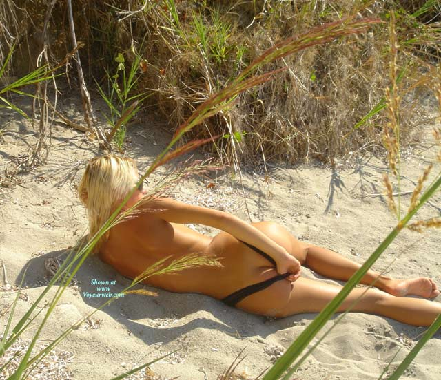 Lying On Beach - Rear View, Round Ass, Beach Voyeur , Lying On Beach, Posing On Beach, Rear View, Round Ass, Sunny Beach, Black Thong On Beach, Nude In Sand
