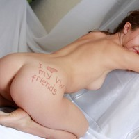 Nude Girl Kneeling Rear Shot - Blue Eyes, Brown Hair, Naked Girl, Sexy Ass, Sexy Face , From Behind, Ass, Pussy Peeking Out, Light Brown Hair, Side Cleavage, Love Note, Perfect Lips
