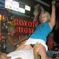 Coyote Ugly, Magaluf , 2 Strangers On The Bar Taking Part In A Wild Competition, But These Pictures Were Taken 2 Years Ago, At That Time This Bar Was Fantastic, With Scenes Like These Happening Many Times During The Night. 7 Nights A Week, But Now Due To The Way BCM Square Is Set Up And The Current DJ Etc, This Bar Is Often Empty And Is Not Worth A Visit. I Have To Say What A Shame That This Bar Has Gone Down Hill So Fast.