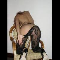 Crotchless Lace Panyhose - Heels , Black Pantyhose, Seduction On A Chair, Crotchless Nylons, Black Thong, Rear View, Lace Pantyhose, Kneeling On Chair From Behind, String Thong, Undressing Her Pantyhose, Kneeling Rear-view Strip