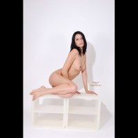White Background - Black Hair, Full Nude , White Background, Fully Nude, Sexy Nude Brunette, Black Hair, Dark Haired Naked Pose On White Shelves, Studio Shot, Sensual Poser With Naked Breasts