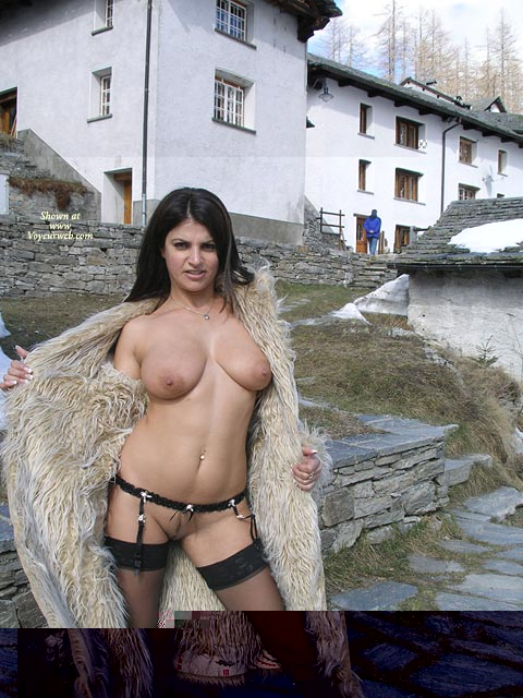 Tough Broad - Big Tits , Tough Broad, Big Breasts, Stockings And Garters, On The Street